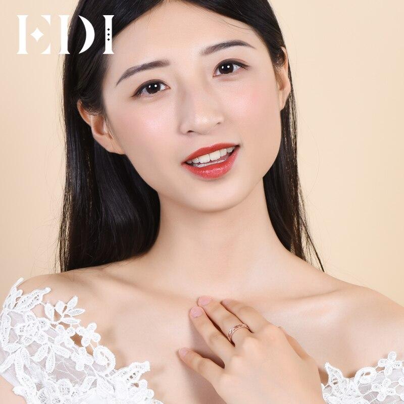 EDI véritable véritable 18 k or Rose bandes diamant naturel 0.02 cttw rond coupe anneaux de mariage pour les femmes fleur Design bijoux fins cadeaux - 5