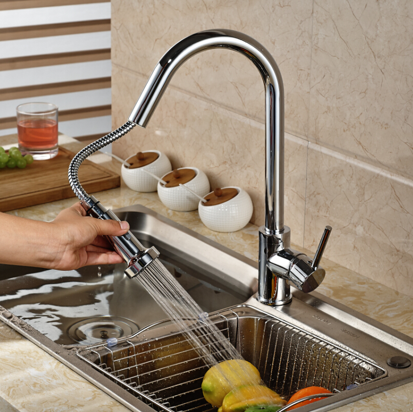 Chrome Brass Deck Mount Pull Out Kitchen Faucet Kitchen Sink Mixer Tap Swivel Rotate W/ hot and cold water hose modern kitchen sink faucet mixer chrome finish kitchen double sprayer pull out water tap torneira cozinha rotate hot cold tap