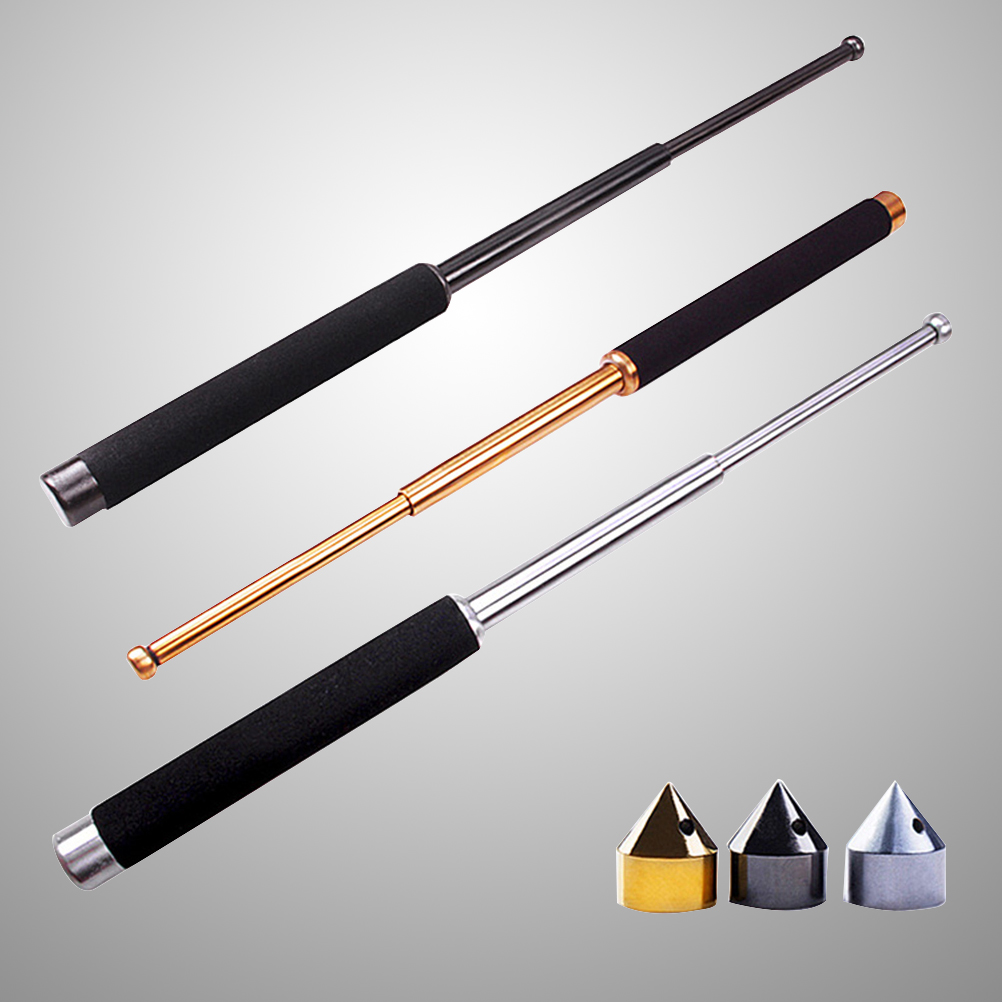 26 Inch Three-Section Expandable Stick Telescopic Pole Baton Security Guard Self-Defense Tool with Window Breaker (Black)