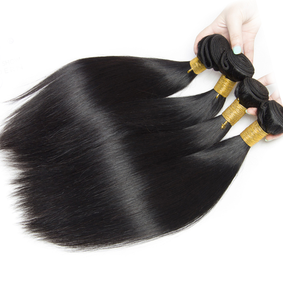Peruvian Straight Human Hair Bundles With Closure 3 Bundles Deal With Closure 4 Pcs/Lot Virgo Hair B