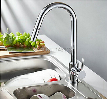 wholesale and retail  copper single lever chrome hot and cold pull out  Kitchen faucet  single hole kitchen tap mixer