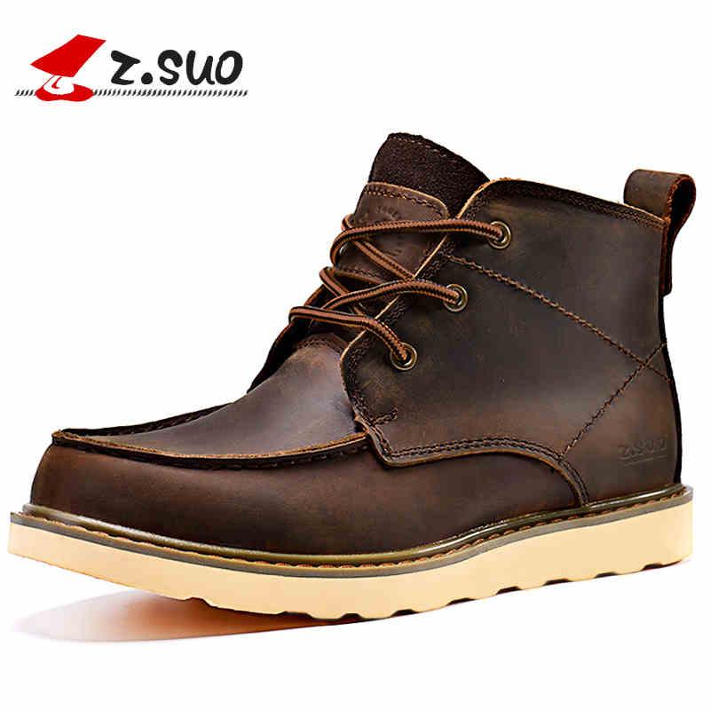 Здесь продается  big size 38-45 genuine leather men boots zsuo top brand tooling leather shoes men flat botas hombre western boots men  Обувь