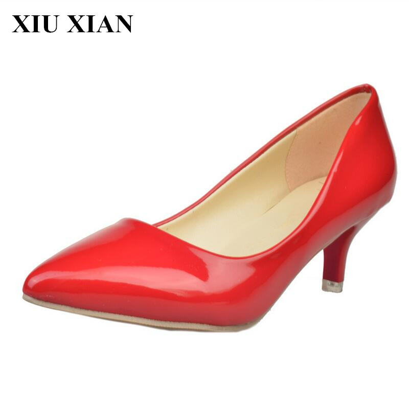 Fashion High Heel Women Shoes Spring Summer Pointed Toe Pumps Female Black White Red Pumps Solid Office Pumps Shoe Mary Janes PU new hot spring summer high quality fashion trend simple classic solid pleated flats casual pointed toe women office boat shoes