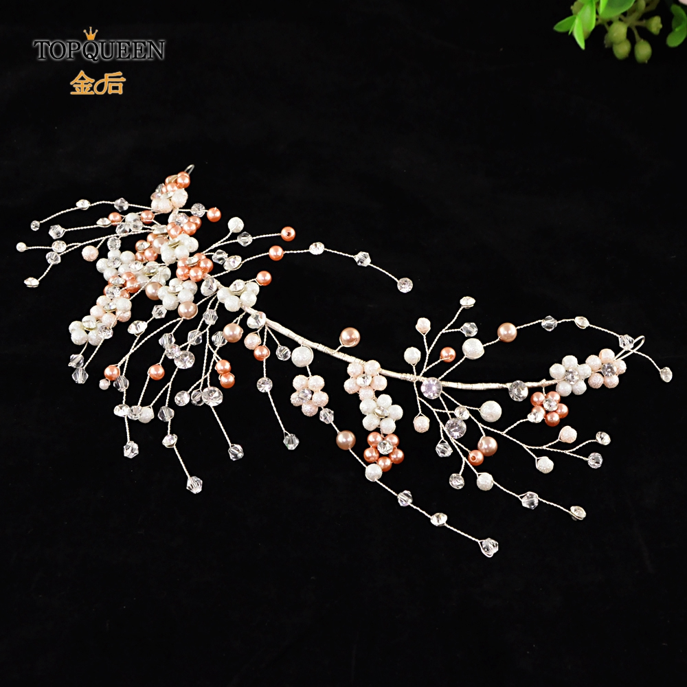 TOPQUEEN HP228-S Beading Bridal Crown Wedding Bridal Crown Bridal Accessories For Women Crystal Bridal Headband For Wedding