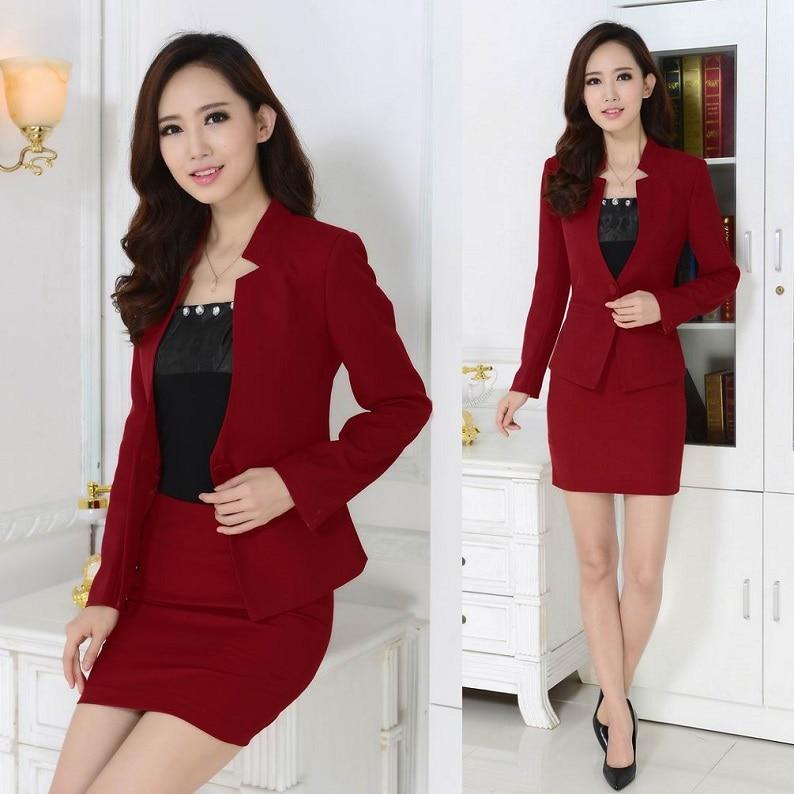bfdcede0d € 38.03 7% de DESCUENTO|Nuevo 2018 Otoño Invierno Formal rojo Blazer  mujeres trajes con falda y chaqueta conjuntos Terno Feminino señoras  Oficina ...