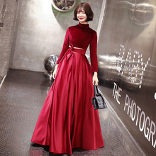 Burgundy Backless Women Evening Party Gown Chinese Dress Satin Sexy Retro Pleated Dresses Qipao Long Sleeve Cheongsam With Bow
