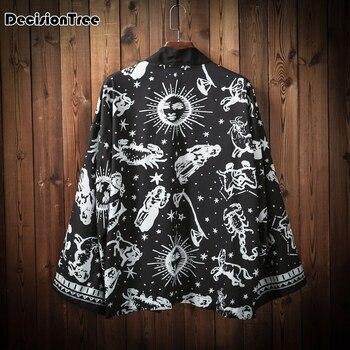 fca13f0a 2019 летние мужские клетчатые кимоно кардиган Уличная Повседневная куртки-кимоно  мужской японский стиль хип-хоп верхняя одежда пальто