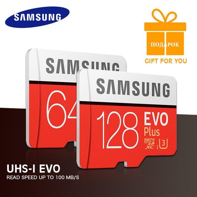 SAMSUNG 100% gb Micro SD cartao sd 64 32 gb U3 UHS-I Class10 128 gb microSDXC 256 gb Cartão de Memória cartão TF HD para Smartphone Tablet etc