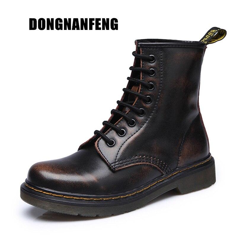 DONGNANFENG 2018 Delle Donne Della Caviglia Scarpe Stivali Inverno di Caduta di Autunno Del Cuoio Genuino Lace Up Scarpe Punk Più Il Equitazione Equestr 35- 44 YDL-666