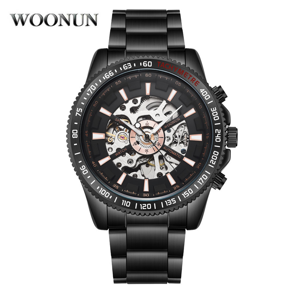 Man Watch 2019 Men Mechanical Watches Fashion Sport Black Stainless Steel Automatic Mechanical Skeleton Watches horloge mannen