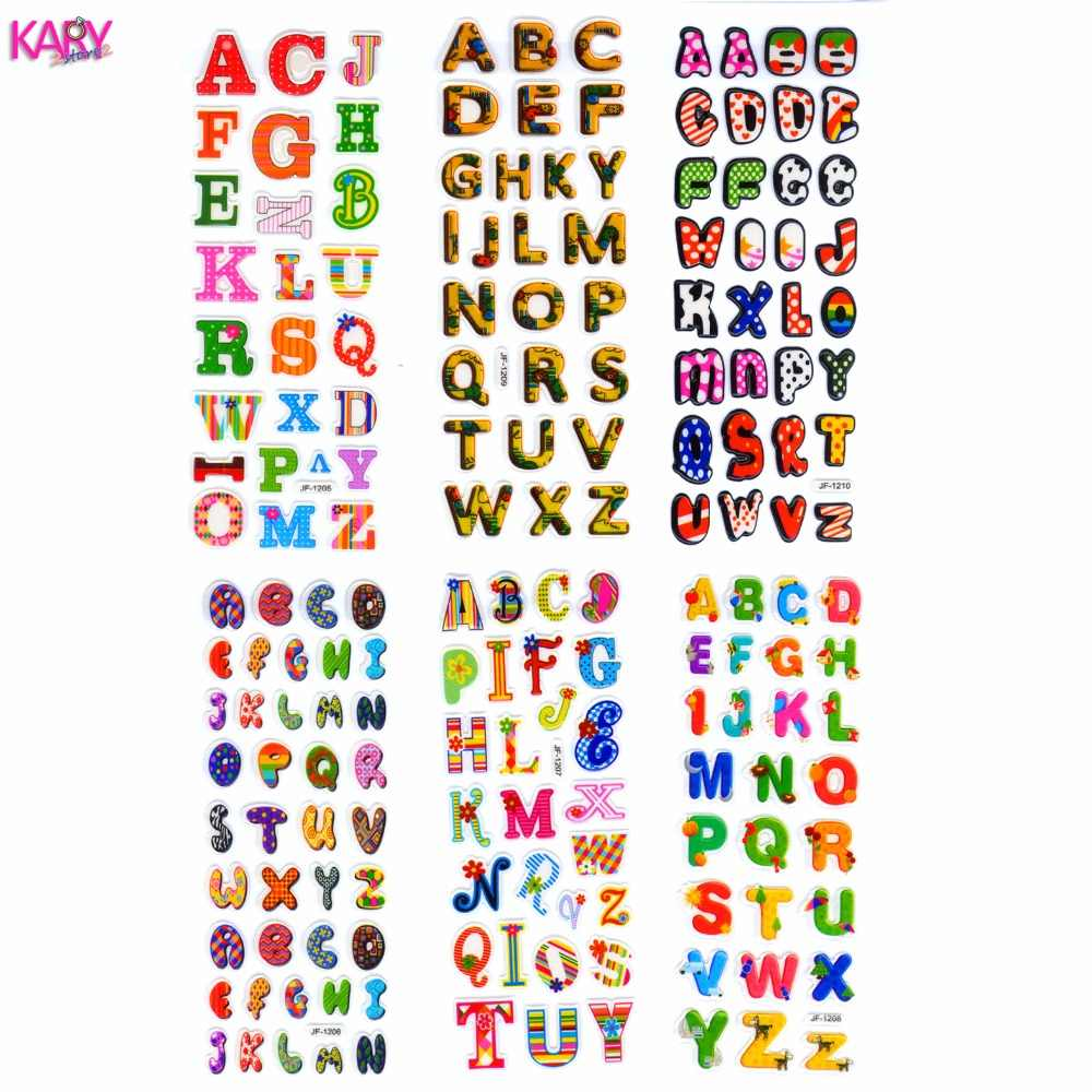6 sheets scrapbooking cute kawaii letters emoji teachers reward kids children toys bubble puffy stickers factory