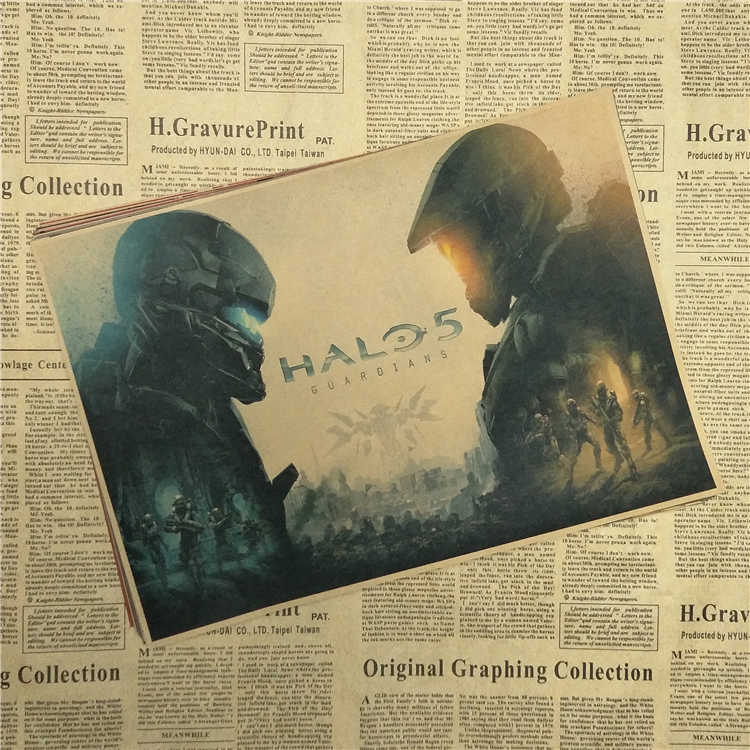 Halo 4 5 Guardians Master Chief Art Vintage Core Kraft Poster Print Vedio Game Pictures For Living Room Wall Decor