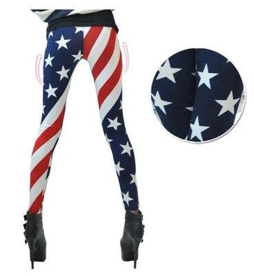 Women Stars and Stripes USA Full Length Ladies American Flag Leggings Slim New