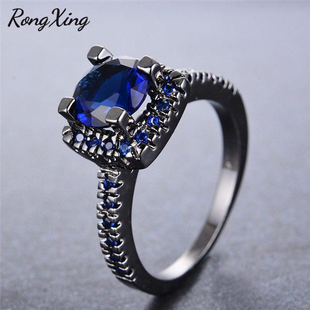 Rongxing gorgeous september birthstone rings for women wedding rongxing gorgeous september birthstone rings for women wedding jewelry vintage black gold filled blue round zircon aloadofball Images
