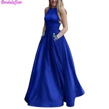 Women's royal blue dress Beaded Halter Satin Prom Dress A Line Open Back Evening Gowns Pockets formal dress long dresses evening