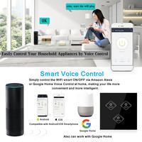 For Amazon Alexa Google Home Kit WIFI Smart Wall Light Remote Touch Switch Panel ABS + Toughened Glass Panel Black 86x86x33mm