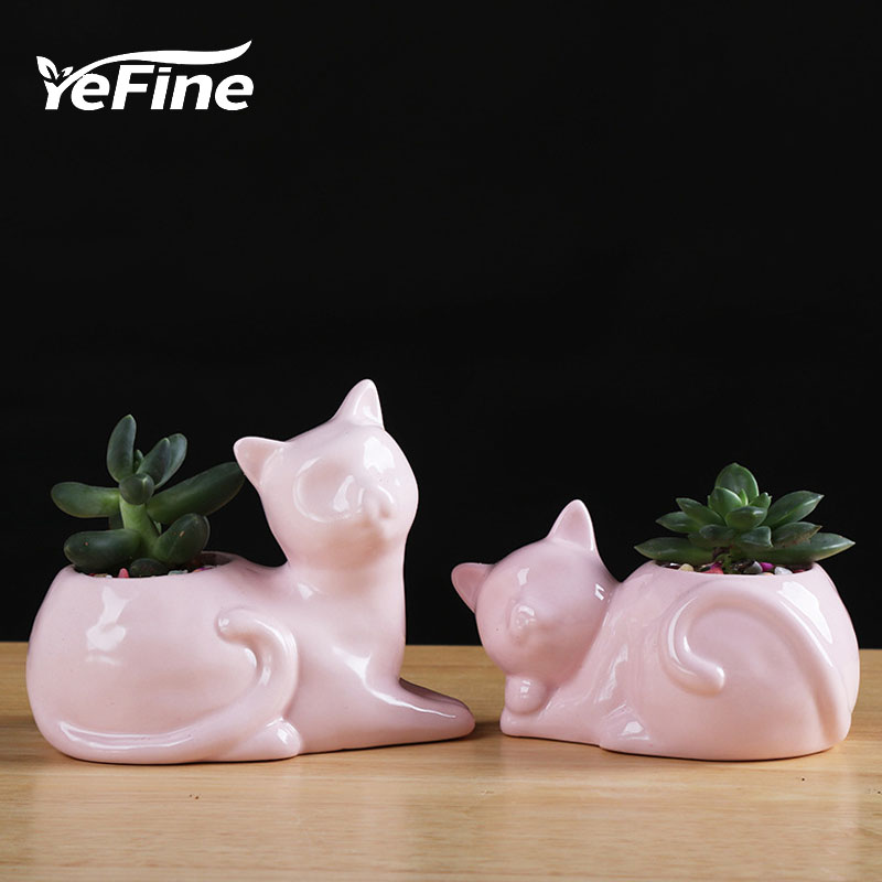 YeFine Cartoon Zakka Cat Ceramic Flower Pots For Mini Succulent Plants Home Garden Decor Cactus Flowerpots