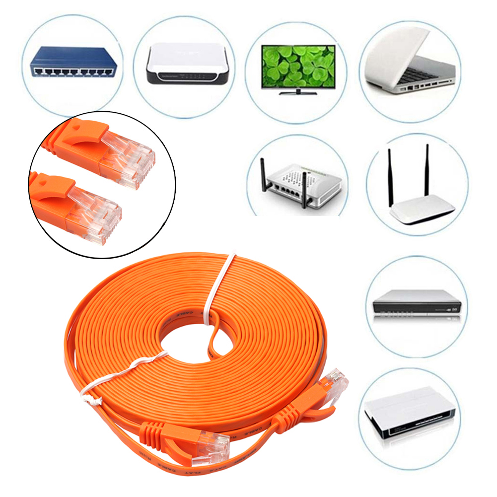 Vakind 50-1500cm FLAT Ethernet Internet Flat Cable CAT6 Network Cable Patch Lead RJ45 For PC/PS4/Xbox ethernet cable
