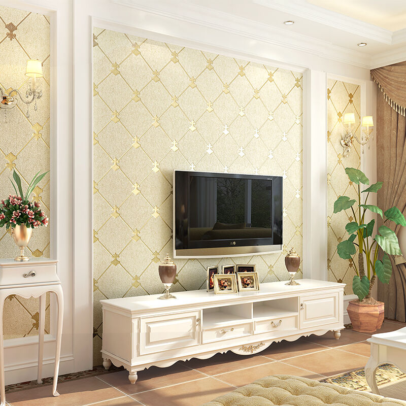 European Style 3D Stereo Embossed Wallpaper Living Room Bedroom Backdrop Wall Eco-Friendly Fiber Decor Non-Woven Wall Paper Roll