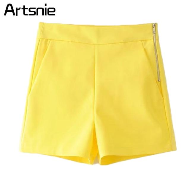 2757bdba1 Artsnie Elegant Yellow High Waist Shorts Women Summer Casual Zipper Double  Pockets Streetwear Ladies OL Office Shorts Feminino