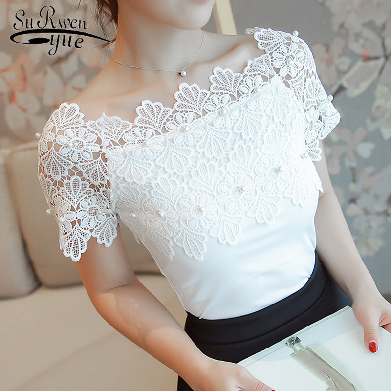 Sexy Slash Neck Women Blouse Shirt Fashion 2019 Short Sleeve White Beading Patchwork Lace Women's Clothing Tops Blusas 80F 30