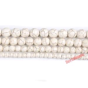 Круглые свободные шарики из натурального синего, белого, бирюзового цвета, 15 дюймов, 4, 6, 8, 10, 12 мм, для самостоятельного изготовления ювелирных изделий, бесплатная доставка