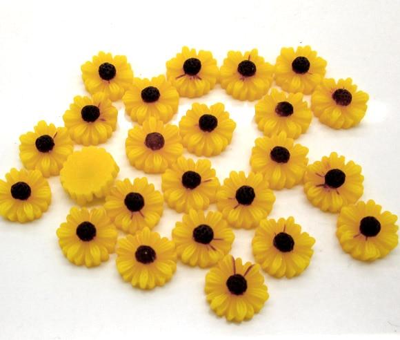 LF 50Pcs Resin Yellow Flower 11mm Decoration Craft Flatback Cabochon Embellishments For Scrapbooking Kawaii Cute Diy Accessories