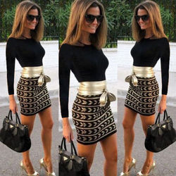 New Fashion Women Long Sleeve Bandage Bodycon Evening Party Club  Short Mini Dress 1