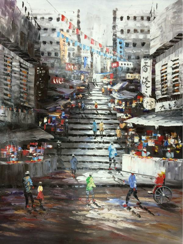 Peint à la main peinture à l'huile sur toile paysage urbain Hong Kong Trams rue couteau toile peinture mur Art photo pour salon