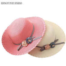 The New Summer Fashion Beach Hats For Boys Girls large Brimmed Straw Hat Grils Flower Foldable Sun