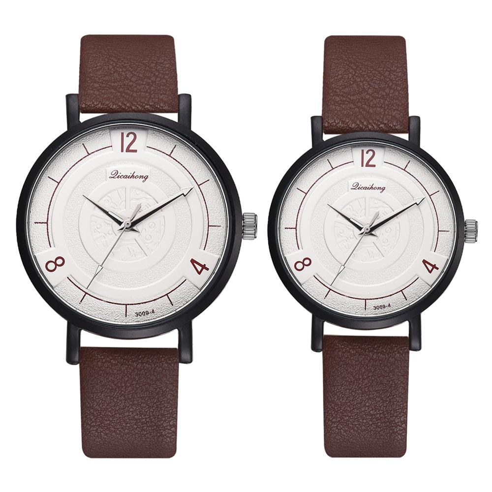 Couple Watch Women Men Simple Fashion Casual Leather Band Quartz Wristwatches Female Male Clocks Unisex Watches For Lovers