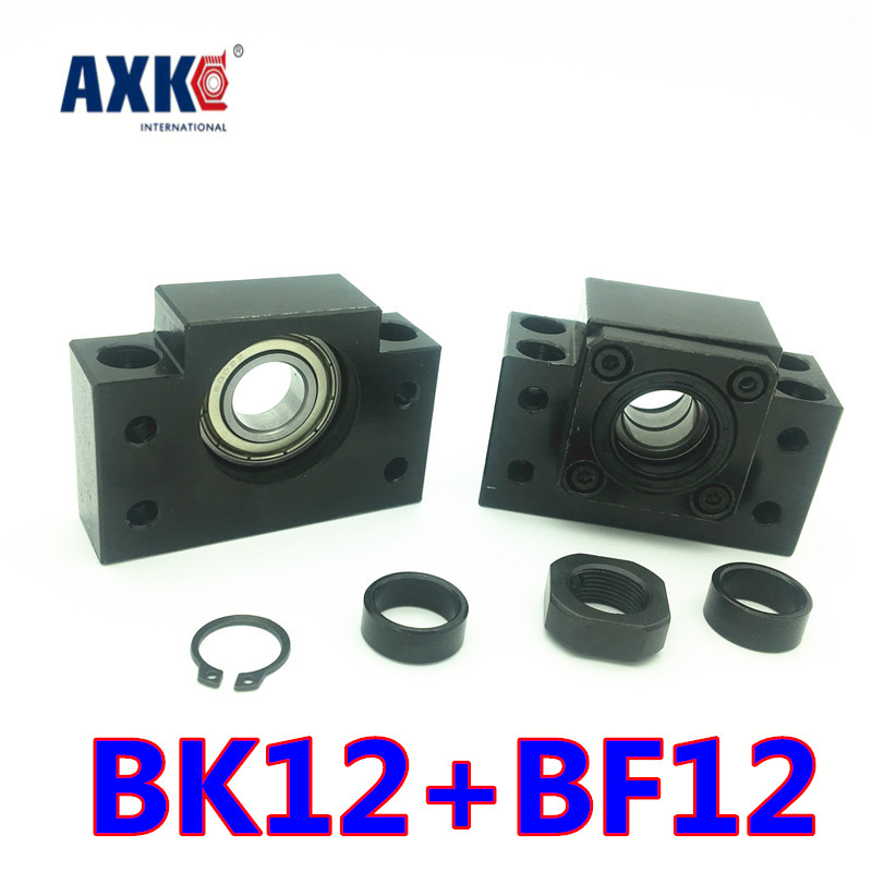 Axk 2018 Bk12 Bf12 Set : 3 Pc Of Bk12 And 3 Pc Bf12 For End Support For Sfu1605 Ball Screw Support Cnc Xyz 1 set bk35 fixed end support bf35 free end support ball screw end support for cnc router xyz