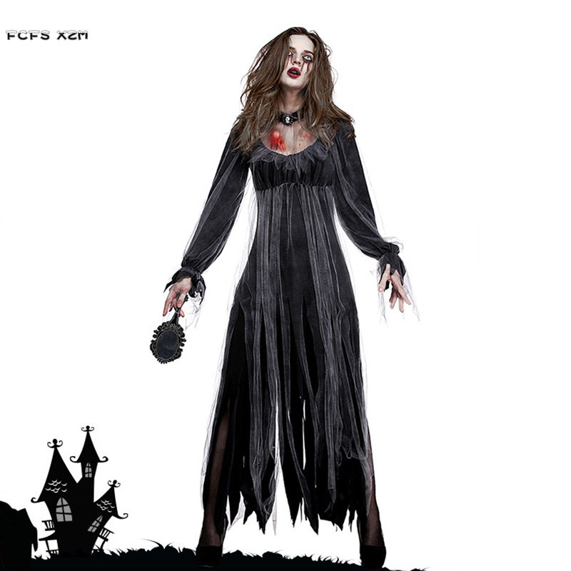 Woman Ghost Zombie walking dead Corpse Bride Scary Cosplays Halloween Vampire Costumes Carnival Purim Nightclub Bar party dress