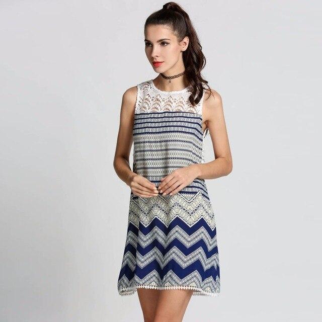 35b2edea28330 Summer 2017 Mini Peach Dress Women White Blue Striped Floral Lace Crochet  Sundress Straight Loose Casual Beach Wear Clothing