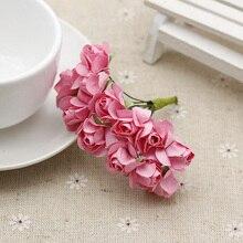Mini Paper Roses Flowers bouquet for Scrapbooking Diy Flower Decor Artificial Wedding Decoration anniversaire