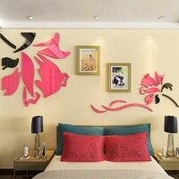 Çiçek Gül Tasarım Akrilik Sticker TV Arkaplan Duvar Salon Dükkanı Süslemeleri