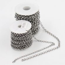 10 m/roll 5mm/6mm de Diâmetro DIY acessórios colar de Jóias correntes de ligação de aço inoxidável