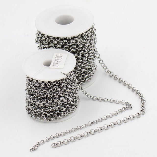 10m/roll 5mm/6mm Diameter DIY necklace Jewelry accessories stainless steel link chains