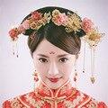 Китайские Традиционные Классические Свадебные Украшения Устанавливает Головной Убор Аксессуары Для Волос Ручной Работы Имитация Нефрита Позолоченные Свадебные Серьги