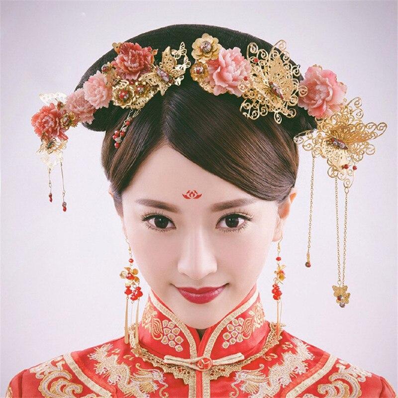 Chinese Traditional Klassik Brautschmuck Sets Kopfschmuck