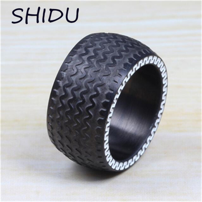 13mm Cool Men S Punk Black Tire Ring Stainless Steel Racing Jewelry Large Heavy