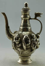 Collectible Decorated Old Handwork Tibet Silver Carved Dragon 8 Immortal Tea Pot