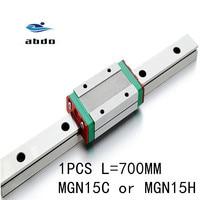 1 Uds. Guía lineal de 15mm MGN15 L = 700mm vía lineal de alta calidad + MGN15C o carro lineal largo MGN15H para eje XYZ CNC