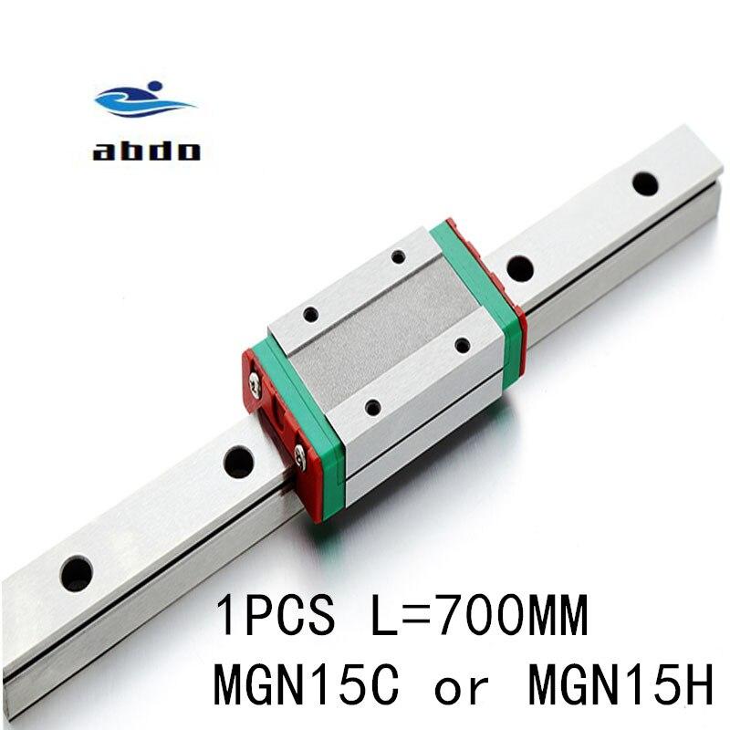 1 pièces 15mm Guide linéaire MGN15 L = 700mm voie de rail linéaire de haute qualité + MGN15C ou MGN15H Long chariot linéaire pour CNC axe XYZ