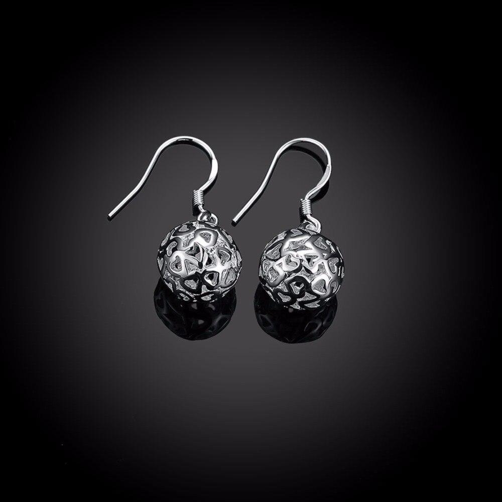 Womens Earrings 925 Sterling Silver Solid Ball Drop Earrings gift box E100
