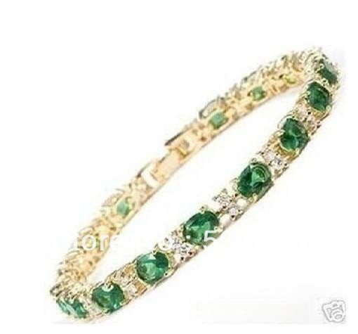 Wholesale free shipping >>super beautiful gold filled green jade braclet