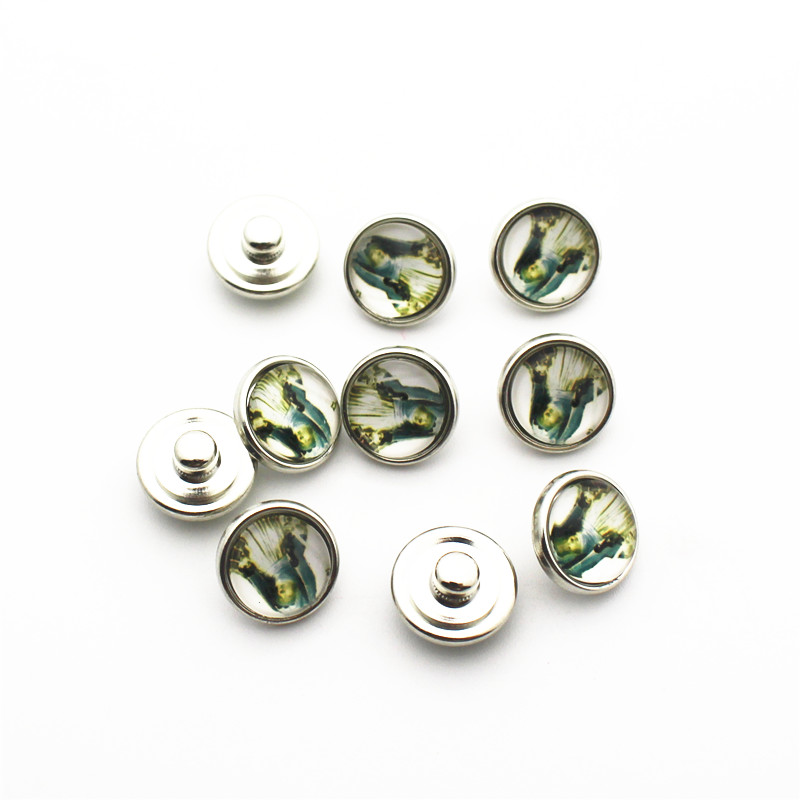 Hot slling 20pcs/lot 12mm Glass Snap Buttons Fit  DIY Bracelet Button Charms Jewelry