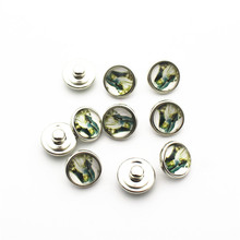 Hot slling 20pcs/lot 12mm Glass Snap Buttons Fit  DIY Snap Bracelet Snap Button Charms Jewelry цена