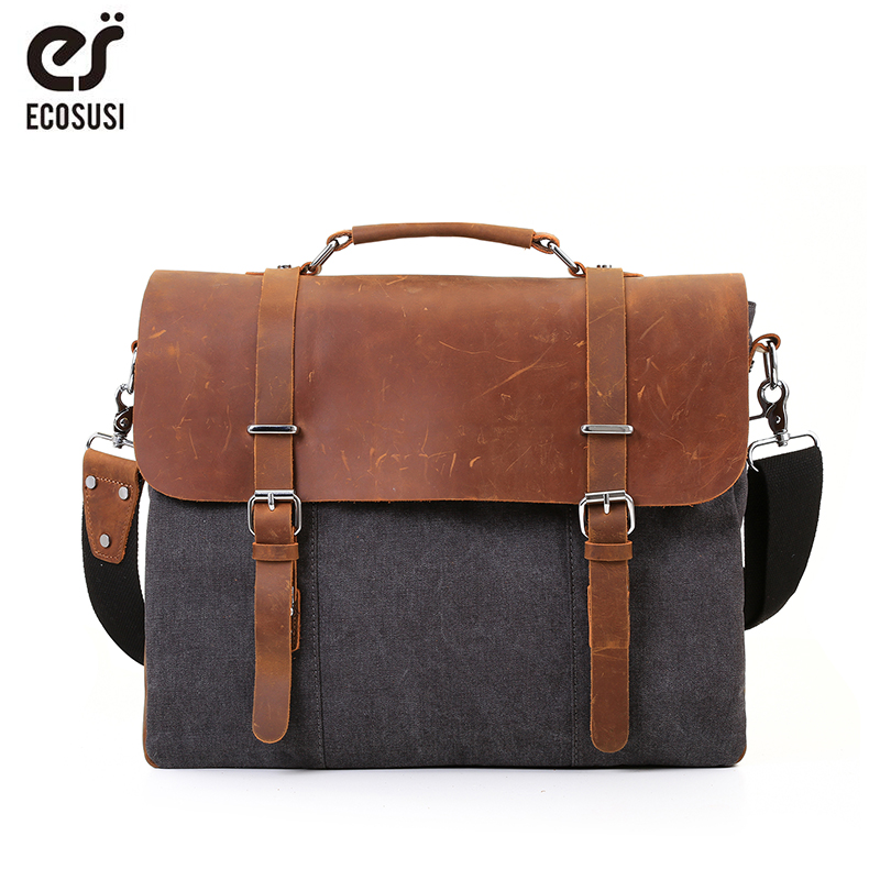 Detail Feedback Questions about ECOSUSI Men Canvas Leather Crossbody Bag Men  Vintage Messenger Bags Large Shoulder Bag Laptop Handbag Men Tote Bag on ... 0284cc31e678d