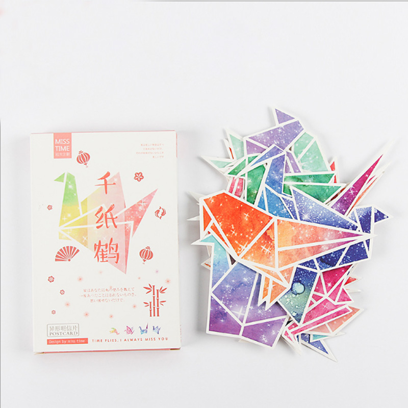 30 pcs/pack Creative Paper crane Greeting Card Postcard Birthday greeting card Letter Envelope Gift Card Set Message Card greeting card 3d pop up cards love tree heart valentine lover happy birthday greeting card